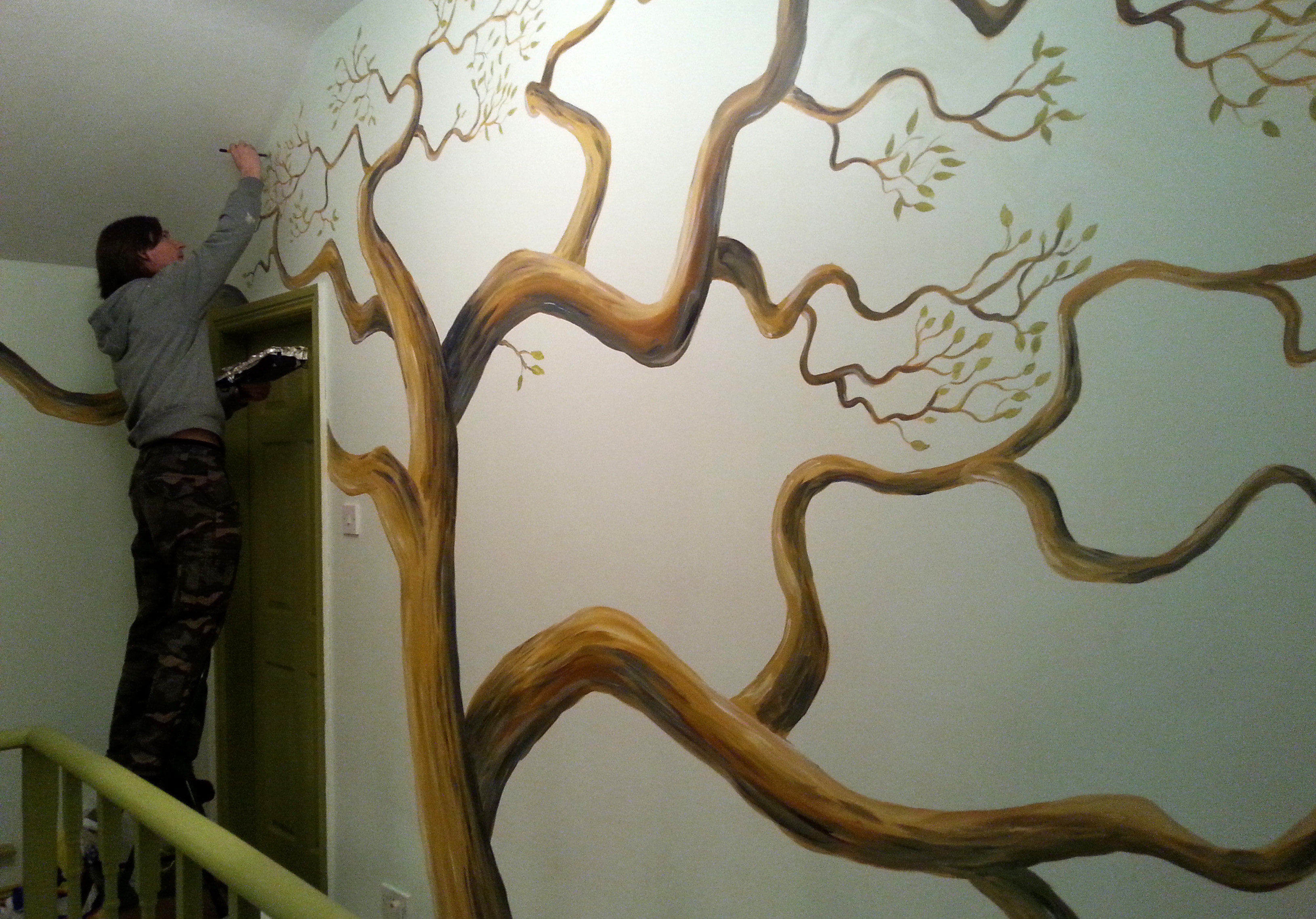 Painting a Family Tree Mural with no straight lines in sight!