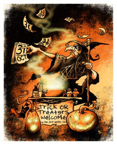 Everyday Is Hallowe'en Giclée Print - Halloween Witch Art by Kevin McHugh Art