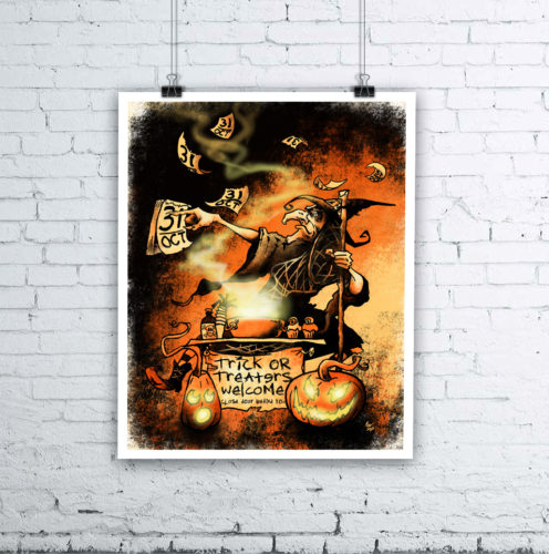 Everyday Is Hallowe'en Giclée Print - Halloween Witch Art by Kevin McHugh Art