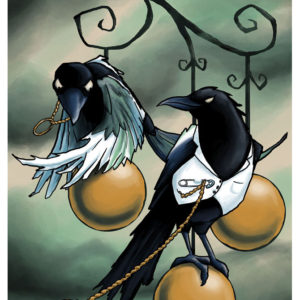 Lovebirds Halloween Crow Illustration by Kevin McHugh Art