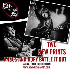 Angus Young and Rory Gallagher Paintings by Kevin McHugh Art