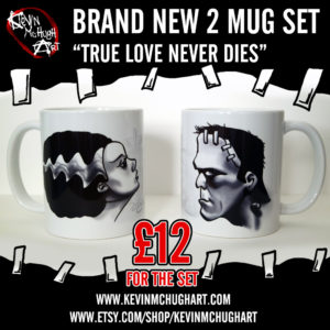 Frankenstein and his bride mug set by Kevin McHugh Art