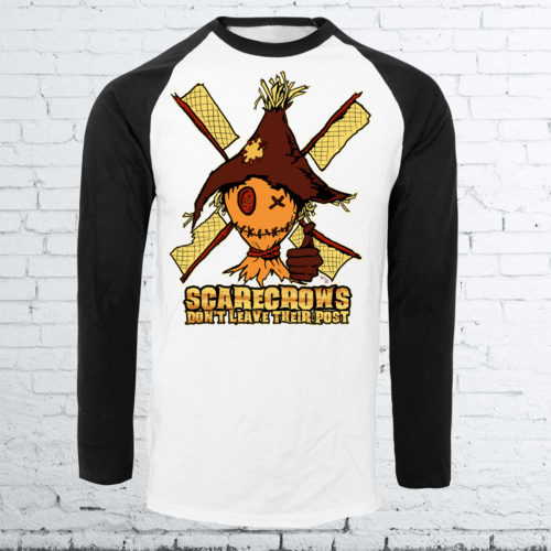 Halloween Scarecrow Baseball Shirt by Kevin McHugh Art