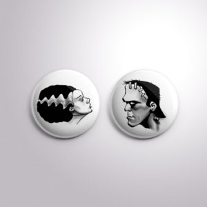 Frankenstein and Bride Badge Set from Kevin McHugh Art