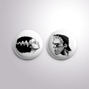Frankenstein and Bride Badge Set from Kevin McHugh Art