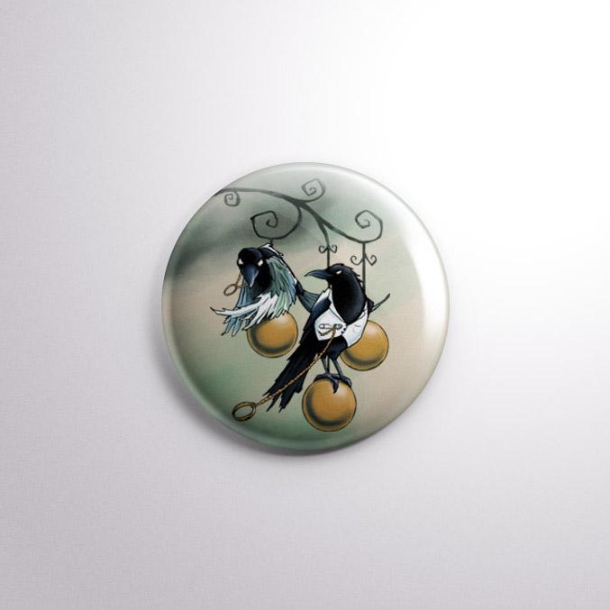 Lovebirds Halloween Crow Badge