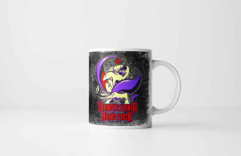 The Transylvania Drac Pack Vampire Halloween Mug Black by Kevin McHugh Art