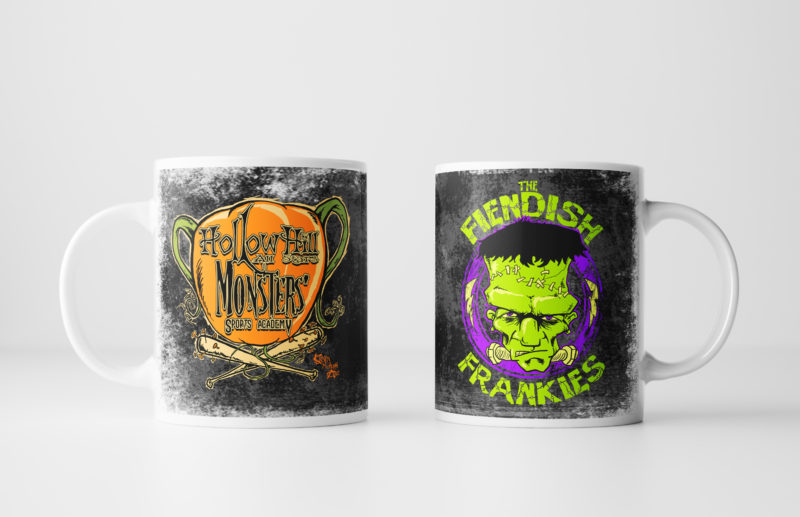 Left and Right Images of Fiendish Frankies Mug - Black