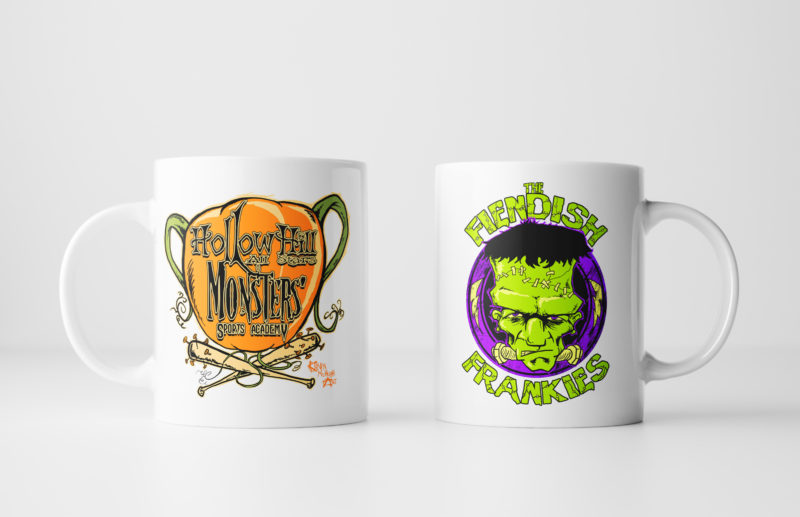 Left and Right Images of Fiendish Frankies Mug - White