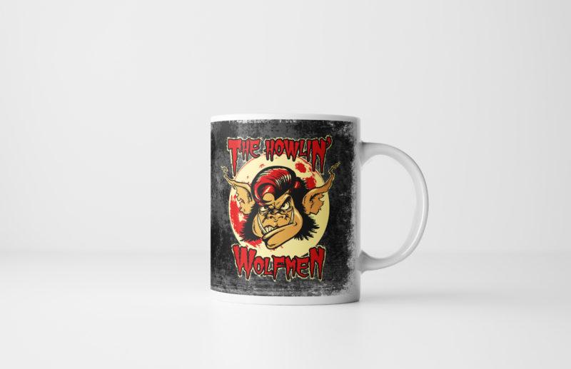 The Howlin' Wolfmen - Werewolf Halloween Mug - Black