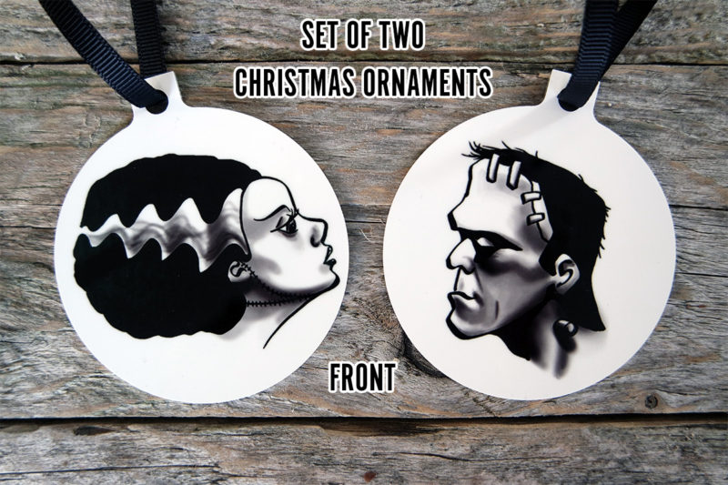 Frankenstein and Bride of Frankenstein Horror Christmas Ornaments