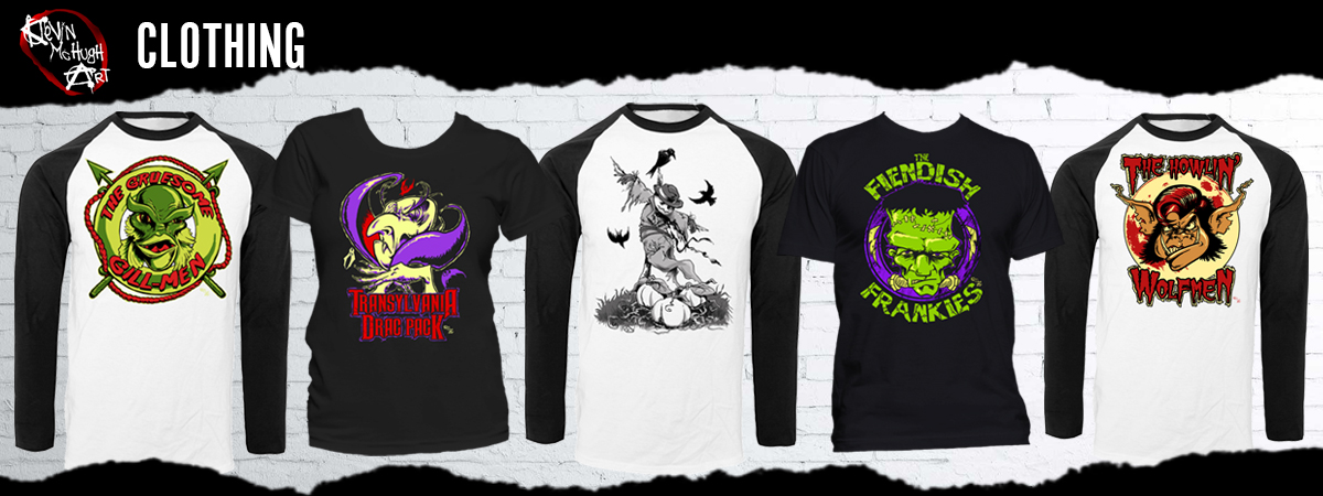 Horror Clothing Halloween T-Shirts from Kevin McHugh Art