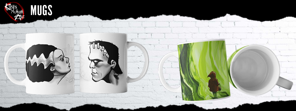 Halloween Coffee Mugs Frankenstein Mug Set from Kevin McHugh Art