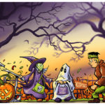 Halloween Kids - Trick or Treat Giclee Print Halloween Art by Kevin McHugh Art