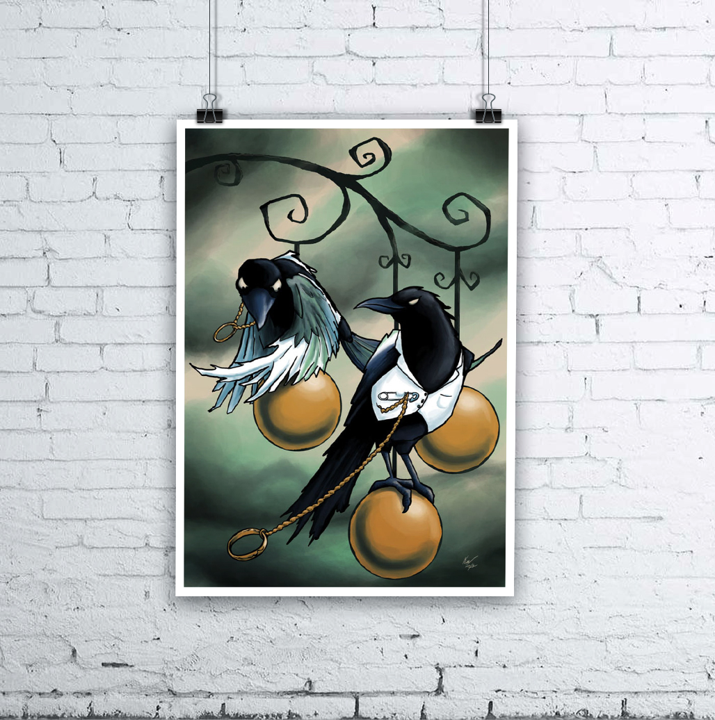 Lovebirds Halloween Crow Illustration by Kevin McHugh Art