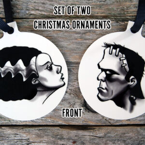Frankenstein and Bride of Frankenstein Horror Christmas Ornaments