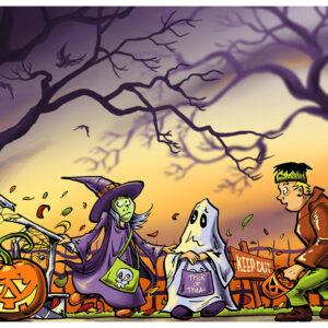 Halloween Kids - Trick or Treat Giclee Print Halloween Art by Kevin McHugh Art